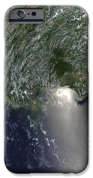 Oil Slick iPhone Cases - Satellite View Of An Oil Spill iPhone Case by Stocktrek Images