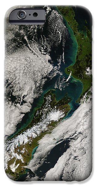 Phytoplankton iPhone Cases - Satellite View Of New Zealand iPhone Case by Stocktrek Images