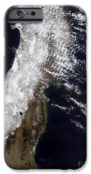 Satellite View Of Northeast Japan iPhone Case by Stocktrek Images