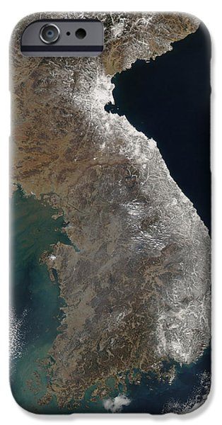 Satellite View Of Snowfall Along South iPhone Case by Stocktrek Images