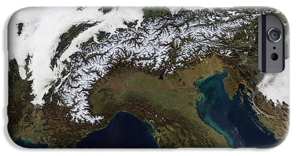 Phytoplankton iPhone Cases - Satellite View Of The Alps iPhone Case by Stocktrek Images