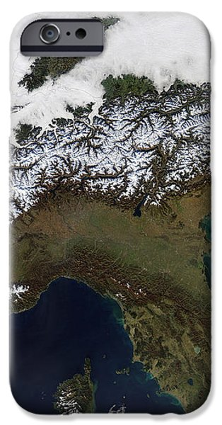 Satellite View Of The Alps iPhone Case by Stocktrek Images