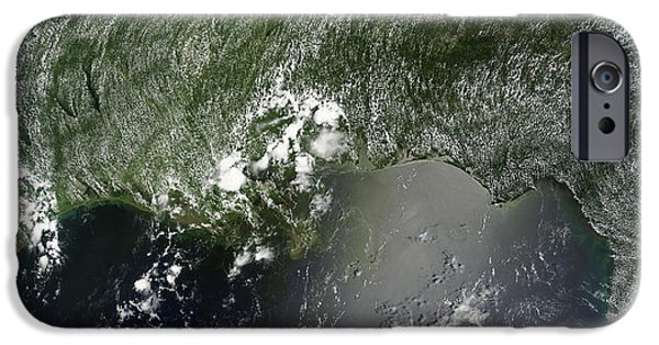 Oil Slick iPhone Cases - Satellite View Of The Gulf Of Mexico iPhone Case by Stocktrek Images