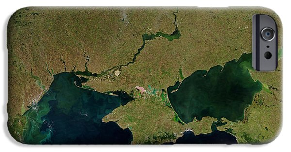 Phytoplankton iPhone Cases - Satellite View Of The Ukraine Coast iPhone Case by Stocktrek Images
