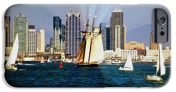 Pirate Ship iPhone Cases - Saturday in San Diego Bay iPhone Case by Cheryl Young