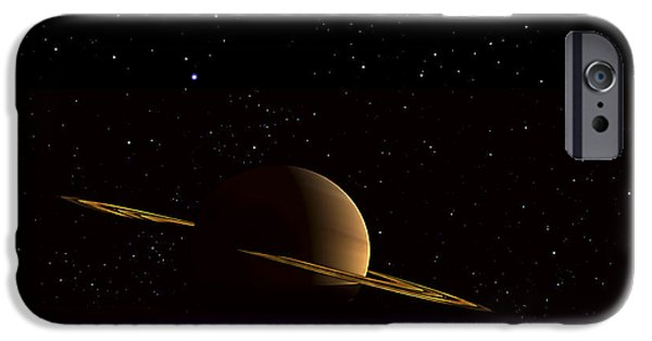 Disc iPhone Cases - Saturn Floats In The Background iPhone Case by Frank Hettick