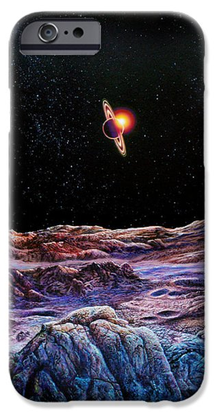 Cosmic Space Paintings iPhone Cases - Saturn from Iapetus iPhone Case by Don Dixon