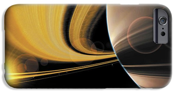 Cosmos Paintings iPhone Cases - Saturn Glory iPhone Case by Don Dixon