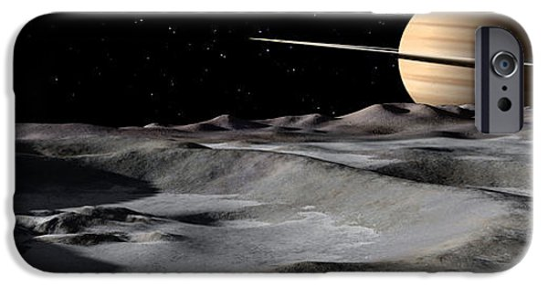 Concept Digital iPhone Cases - Saturn Seen From The Surface iPhone Case by Ron Miller