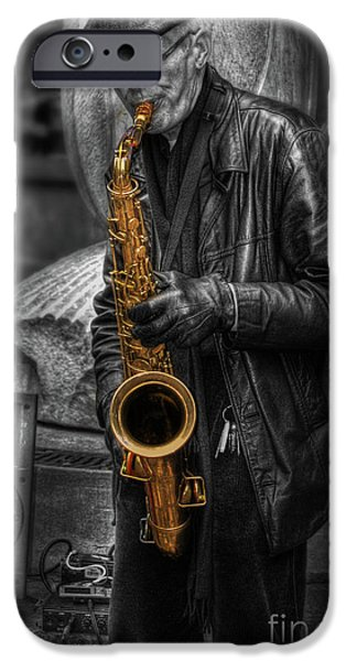 Selective Coloring Art iPhone Cases - Sax Love iPhone Case by Yhun Suarez