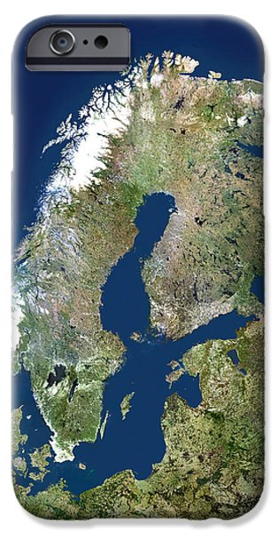 North Sea iPhone Cases - Scandinavia, Satellite Image iPhone Case by Planetobserver