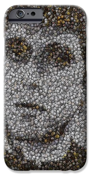 Al Pacino Mixed Media iPhone Cases - Scarface Coins Mosaic iPhone Case by Paul Van Scott