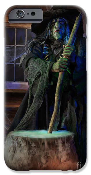 Haunted House iPhone Cases - Scary Old Witch with a Cauldron iPhone Case by Oleksiy Maksymenko