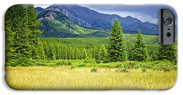 Meadow Photographs iPhone Cases - Scenic view in Canadian Rockies iPhone Case by Elena Elisseeva