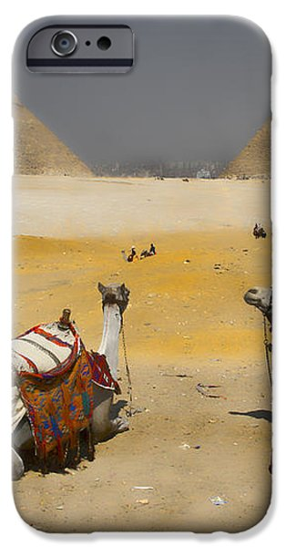 Scenic view of the Giza Pyramids with sitting camels iPhone Case by David Smith