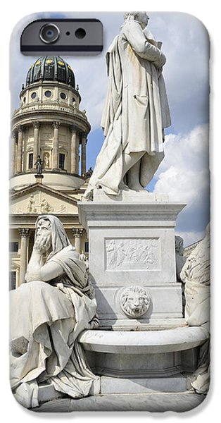 Famous Figures iPhone Cases - Schiller monument Gendarmenmarkt square Berlin Germany iPhone Case by Matthias Hauser