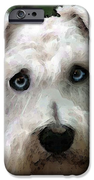 Little Dogs iPhone Cases - Schnauzer Art - Smokey iPhone Case by Sharon Cummings