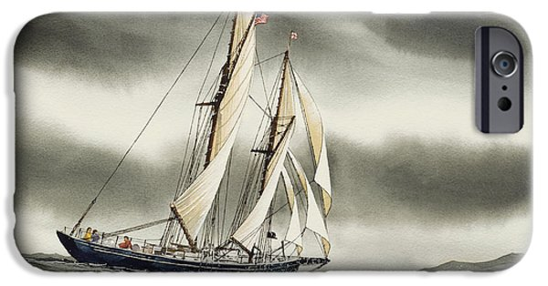 Tall Ship iPhone Cases - Schooner BLACKFISH iPhone Case by James Williamson