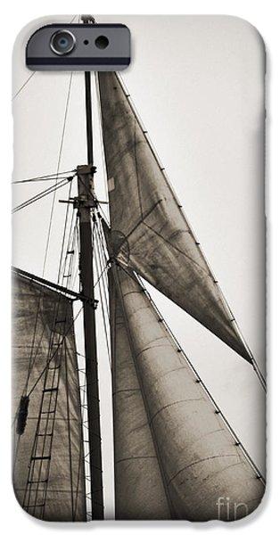 Tall Ship iPhone Cases - Schooner Pride Tall Ship Yankee Sail Charleston SC iPhone Case by Dustin K Ryan