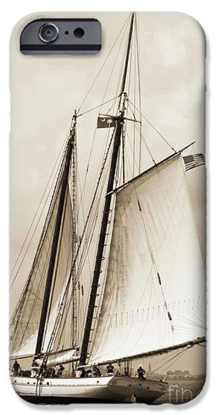 Boat iPhone Cases - Schooner Sailboat Spirit of South Carolina Sailing iPhone Case by Dustin K Ryan