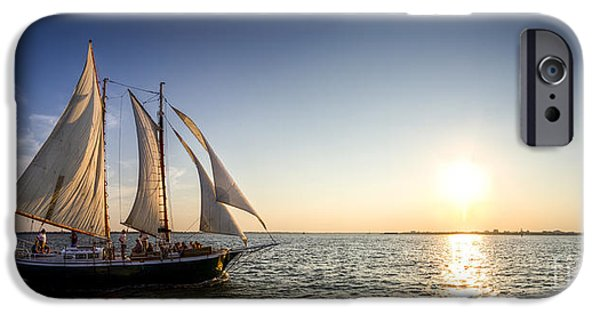 Tall Ship iPhone Cases - Schooner Welcome Sunset Charleston SC iPhone Case by Dustin K Ryan