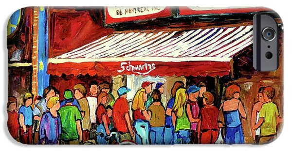 Montreal Land Marks Paintings iPhone Cases - Schwartzs Deli Lineup iPhone Case by Carole Spandau