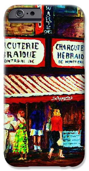 SCHWARTZS FAMOUS SMOKED MEAT iPhone Case by CAROLE SPANDAU