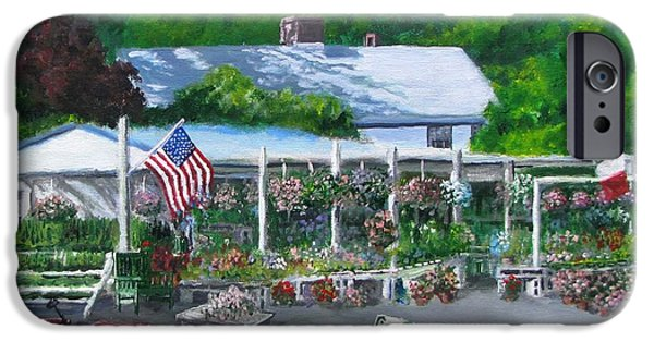 Concord Massachusetts Paintings iPhone Cases - Scimones Farm Stand iPhone Case by Jack Skinner