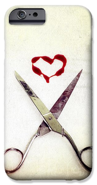 Close Up iPhone Cases - Scissors And Heart iPhone Case by Joana Kruse