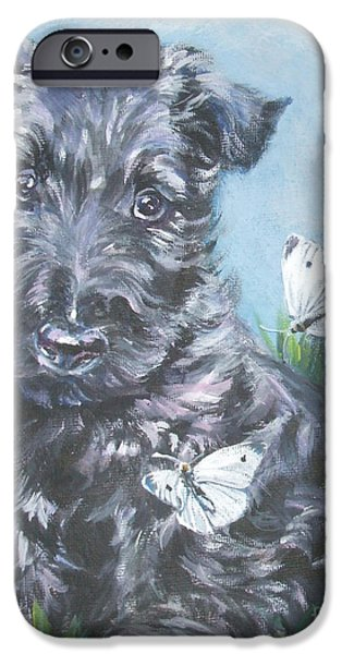 Scottish Terrier Puppy iPhone Cases - Scottish Terrier with butterflies iPhone Case by Lee Ann Shepard