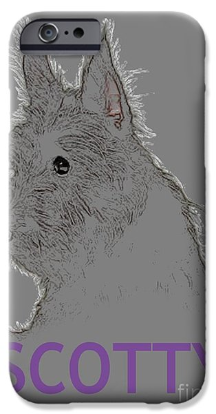 Scottish Terrier Digital Art iPhone Cases - Scotty iPhone Case by George Pedro
