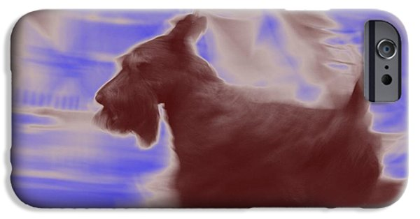 Scottish Terrier Digital Art iPhone Cases - Scotty on the Run iPhone Case by Donna G Smith