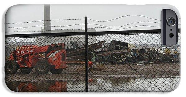 Junk Yard iPhone Cases - Scrapyard Fence iPhone Case by Anita Burgermeister