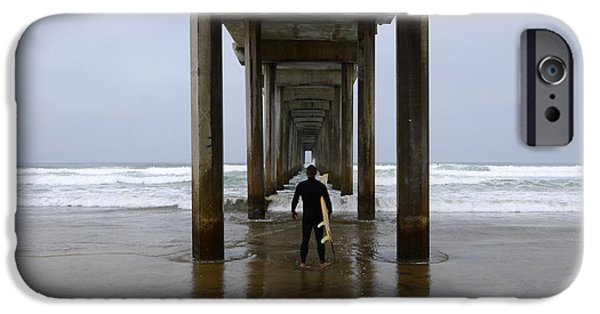 La Jolla Surfers iPhone Cases - Scripps Pier Surfer 3 iPhone Case by Bob Christopher