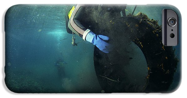 Water Pollution iPhone Cases - Scuba Diver Collecting Rubbish iPhone Case by Alexis Rosenfeld