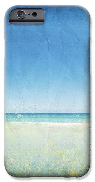 sea and sky on old paper iPhone Case by Setsiri Silapasuwanchai