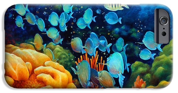 Brain Paintings iPhone Cases - Sea eScape II - Wayward Fish iPhone Case by Nancy Tilles