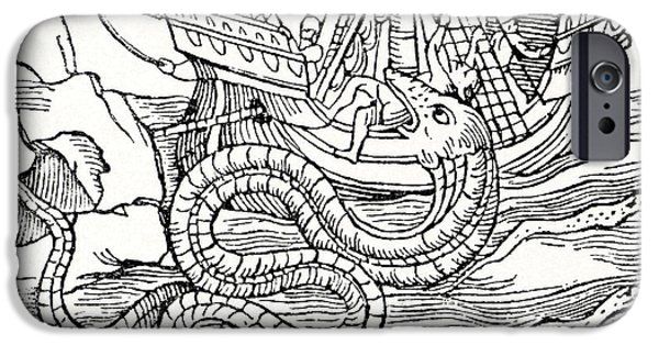 Serpent iPhone Cases - Sea Serpent, 16th Century Artwork iPhone Case by Cci Archives