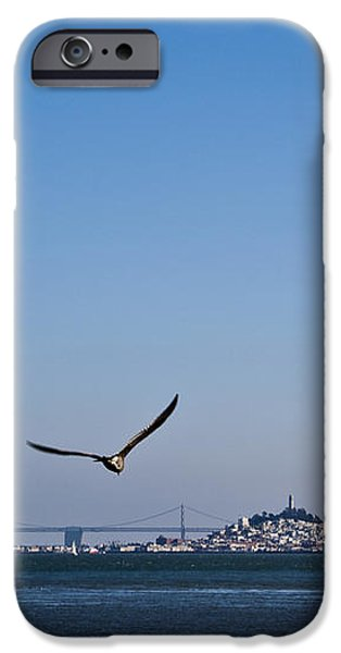 Seagull Flying Over San Francisco Bay iPhone Case by David Buffington