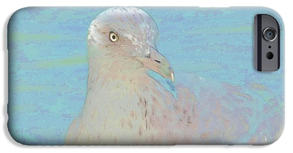 Seagull Mixed Media iPhone Cases - Seagull Soft Art iPhone Case by Deborah Benoit