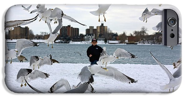 Flying Seagull iPhone Cases - Seagulls In Flight iPhone Case by Gordon Dean II