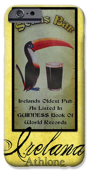 Toucan iPhone Cases - Seans Bar Guinness Pub Sign Athlone Ireland iPhone Case by Teresa Mucha