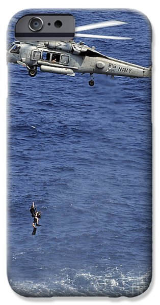 Hovering iPhone Cases - Search And Rescue Swimmers iPhone Case by Stocktrek Images