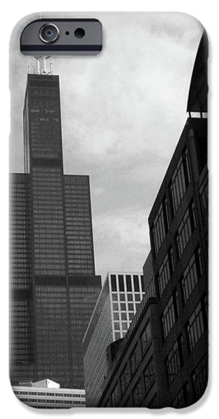 Willis Tower iPhone Cases - Sears Tower b-w iPhone Case by Ely Arsha