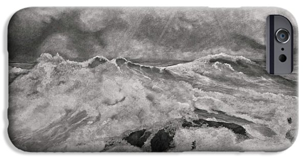 Sun Rays Drawings iPhone Cases - Seascape in Graphite iPhone Case by John Stuart Webbstock