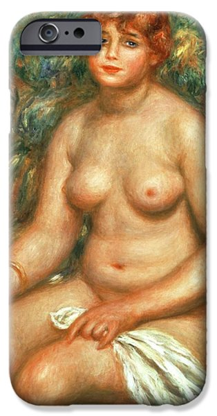 Voluptuous iPhone Cases - Seated Bather iPhone Case by Pierre Auguste Renoir