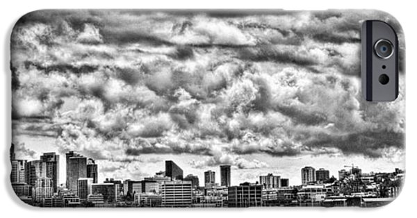 Monotone iPhone Cases - Seattle Cityscape II iPhone Case by David Patterson