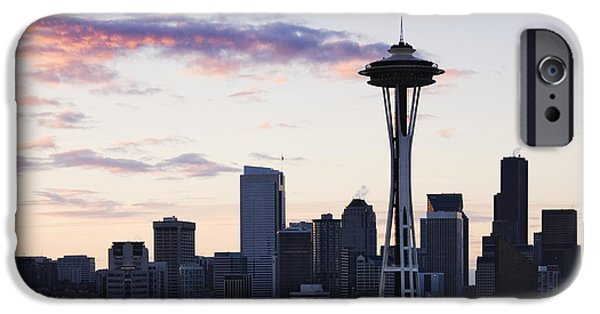 Office Space Photographs iPhone Cases - Seattle Skyline at Dusk iPhone Case by Jeremy Woodhouse