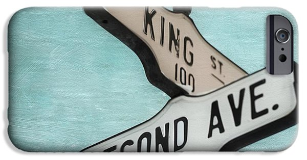 Sign iPhone Cases - second Avenue 1400 iPhone Case by Priska Wettstein