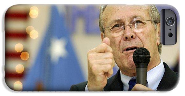 Baghdad iPhone Cases - Secretary Of Defense Donald H. Rumsfeld iPhone Case by Stocktrek Images